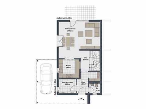 Doppelhaus Duett-D-112 1,5 - Schwabenhaus Grundriss EG