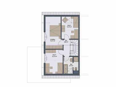 Doppelhaus Duett-D-112 1,5 - Schwabenhaus Grundriss OG