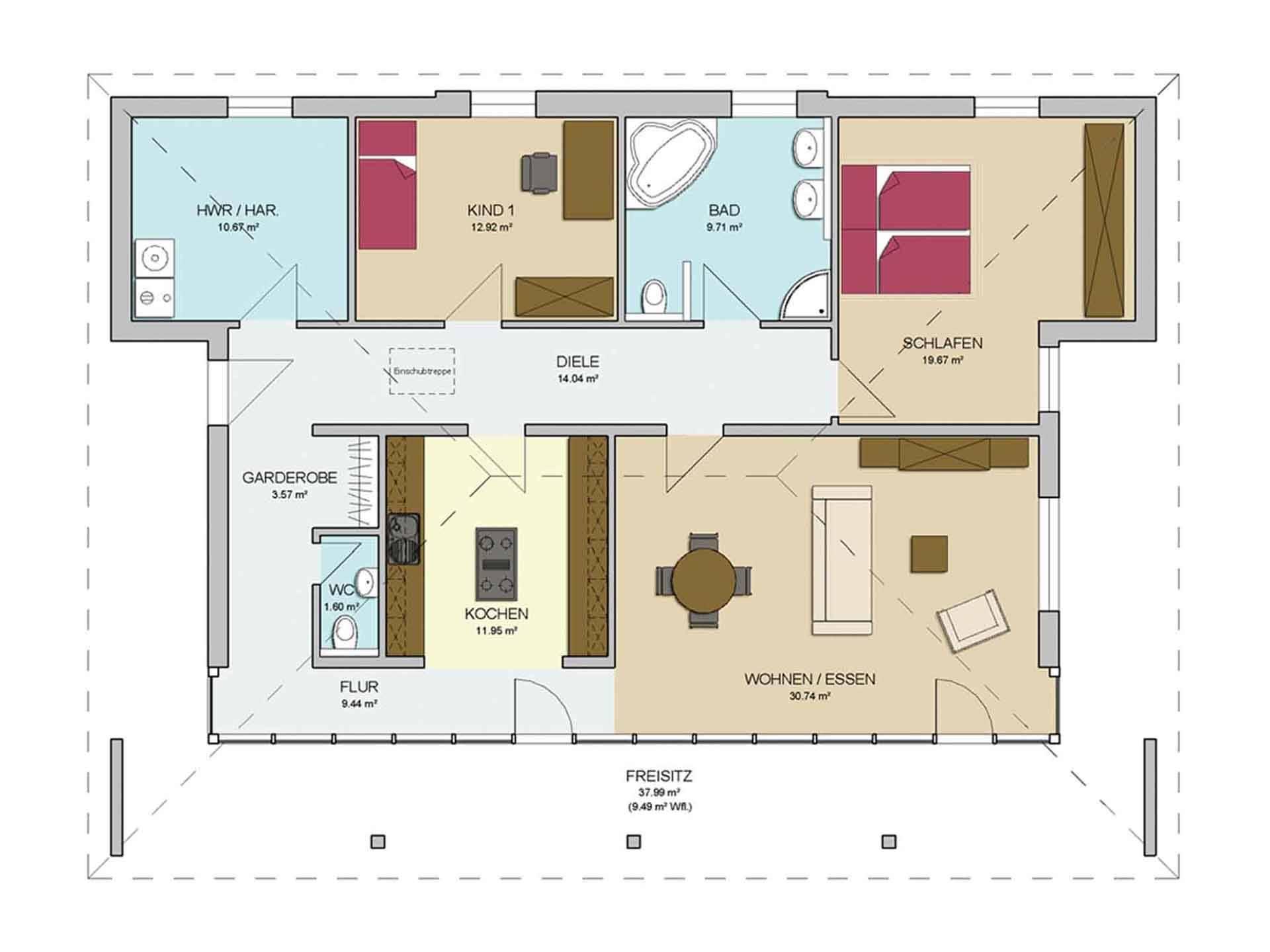 Grundriss Einfamilienhaus 130 Qm: Bungalow qm grundriss noveric ...