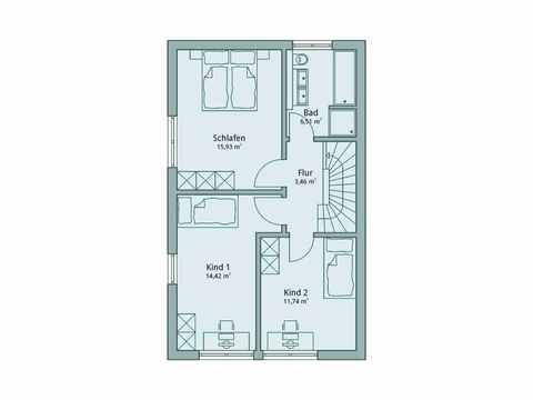 Einfamilienhaus Unikat 107 von TALBAU-Haus Grundriss OG