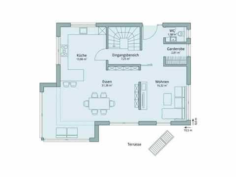 Einfamilienhaus Vario4Plus Extravagant von TALBAU-Haus Grundriss EG