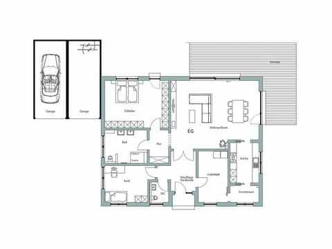 Bungalow Unikat 140 von TALBAU-Haus Grundriss EG