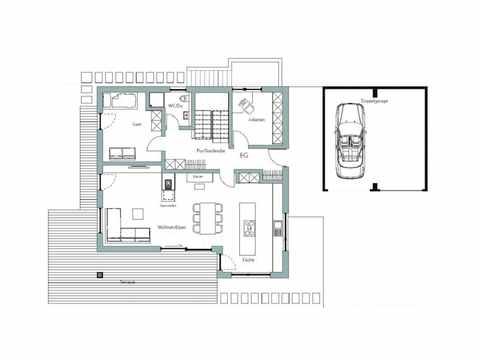 Kubus Haus Unikat 082 - Maleck von TALBAU-Haus Grundriss EG