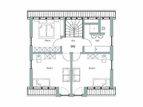 Einfamilienhaus Unikat 108 - Gegner von TALBAU-Haus Grundriss DG