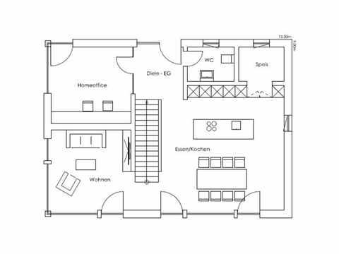 Regnauer Hausbau Musterhaus Heidi, Grundriss EG