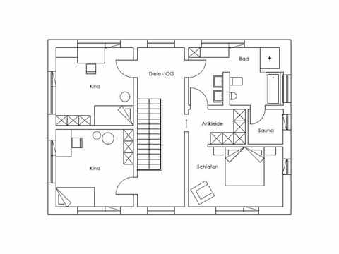 Regnauer Hausbau Musterhaus Heidi, Grundriss OG