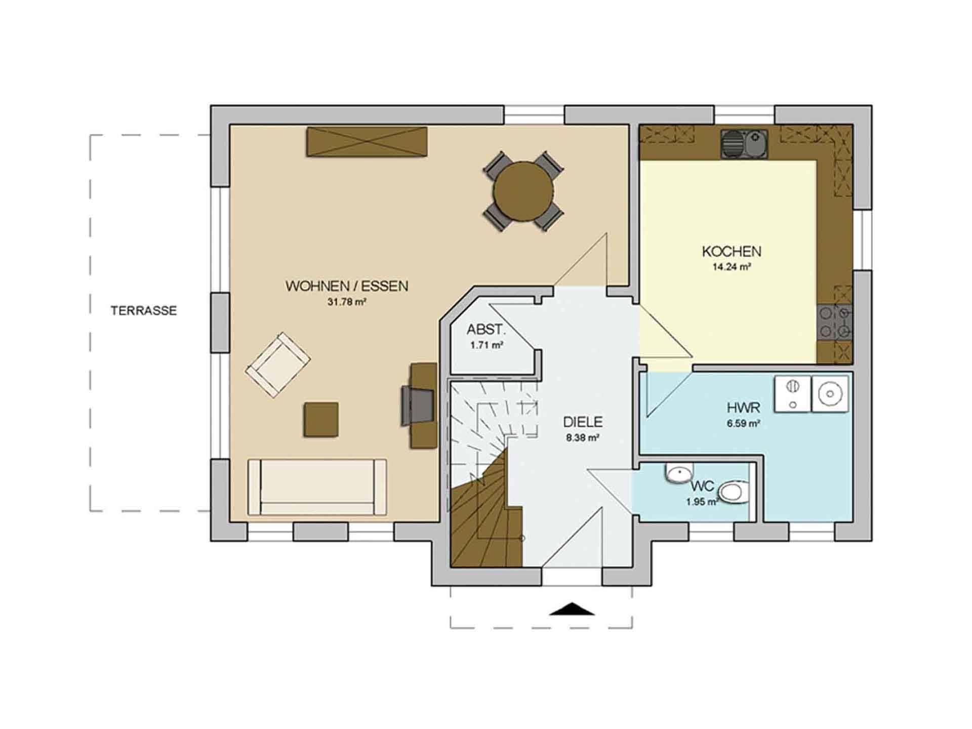 Grundriss Erdgeschoss Haus CLASSIC 120 von AP:art Haus GmbH