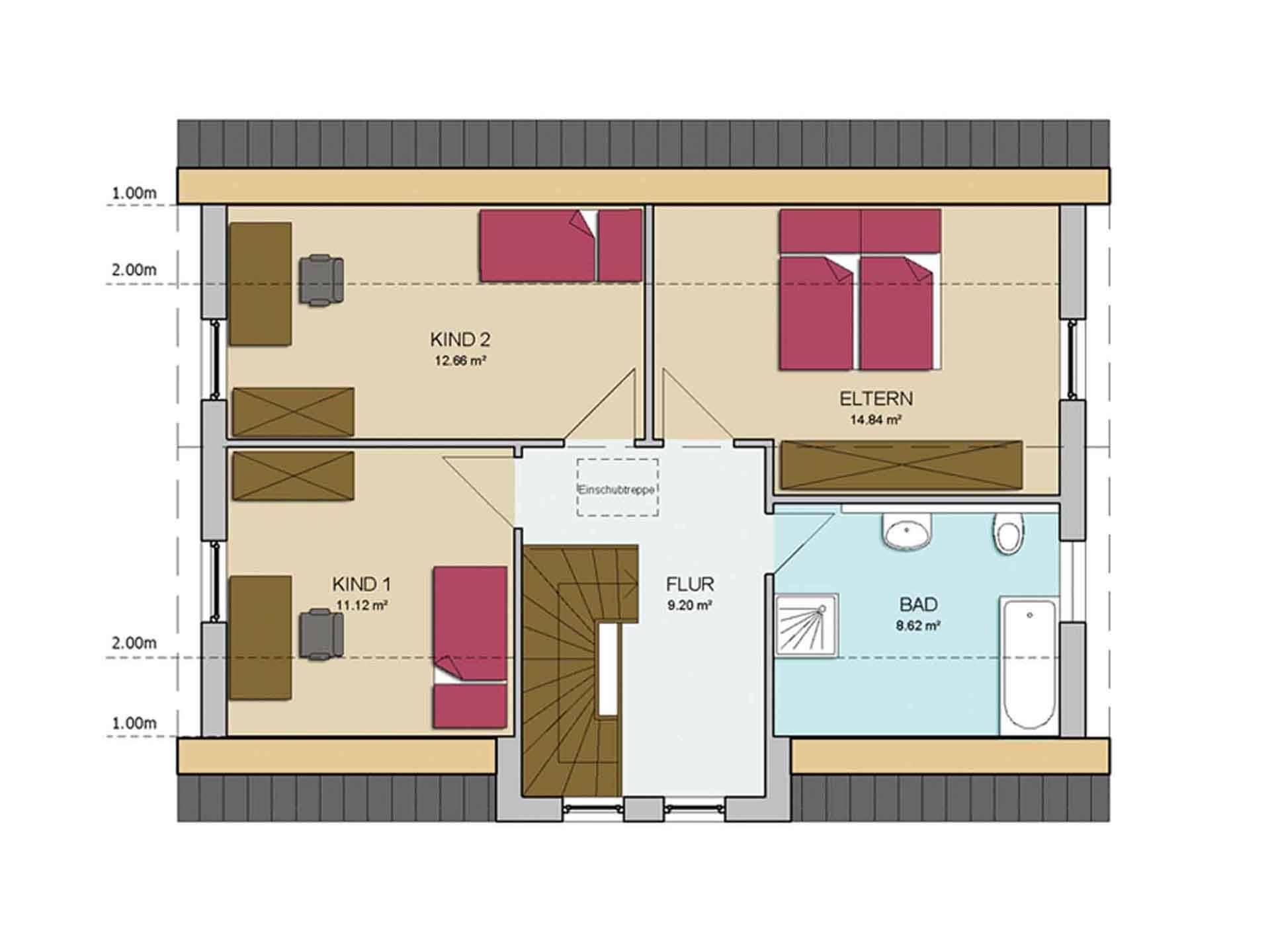 Grundriss Obergeschoss Haus CLASSIC 120 von AP:art Haus GmbH