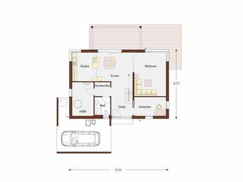 Musterhaus Design 183 von Frammelsberger Holzhaus Grundriss EG