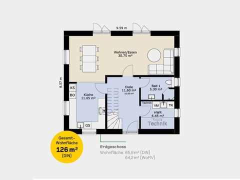 Einfamilienhaus 126A Grundriss EG
