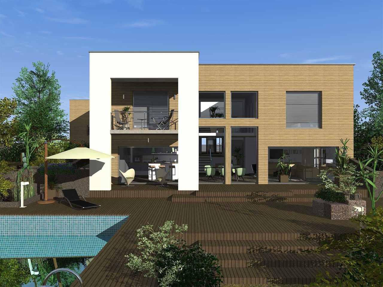 Trend 210 Terrasse mit Holzboden