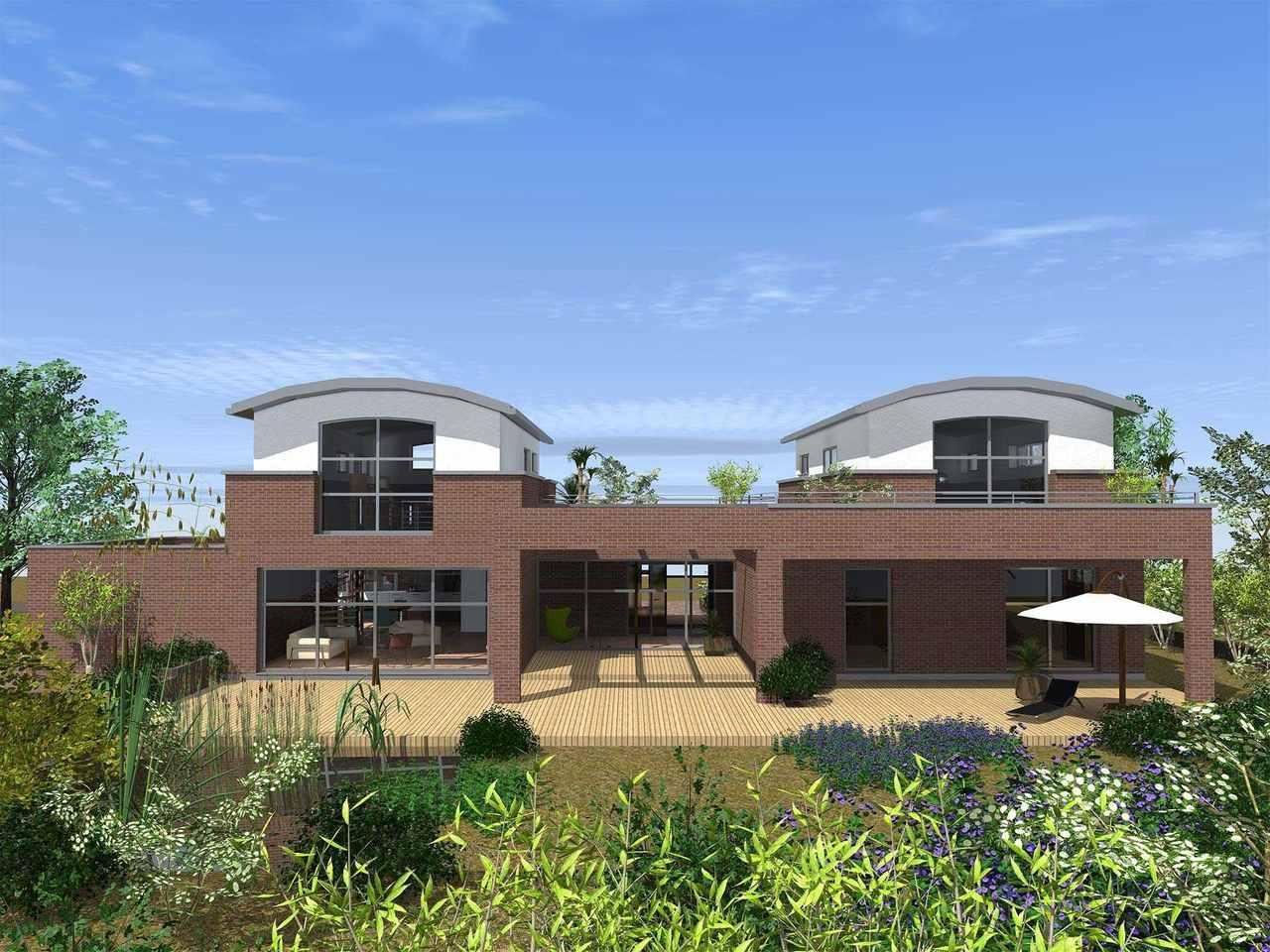 Comfort 310 Terrasse von vorne (Putz- und Klinkerfassade)