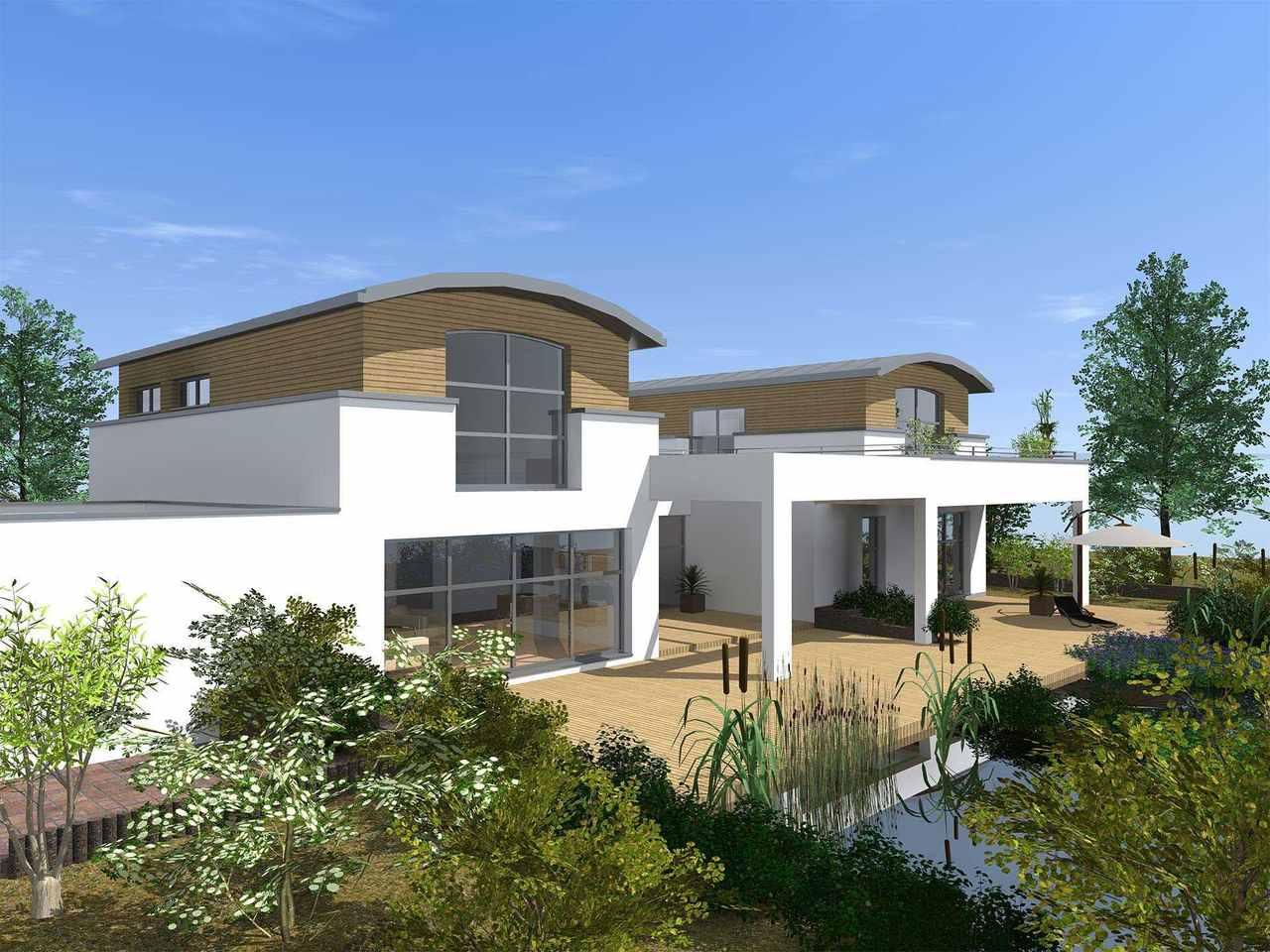 Comfort 310 Terrasse von der Seite (Putz- und Holzfassade)