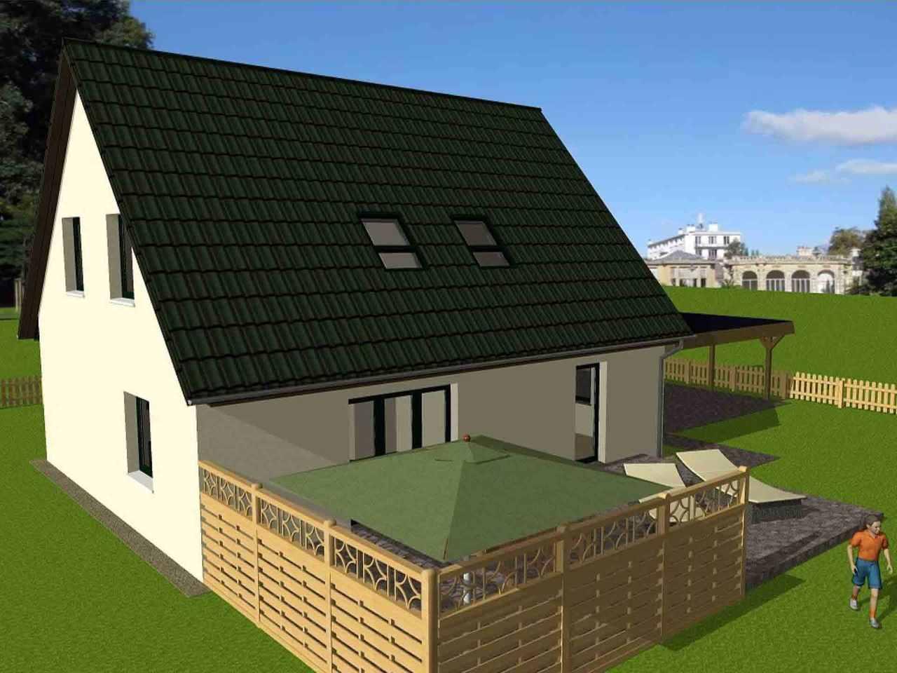 Friesenhaus - Massivhaus Mathwig Außenansicht: Garten