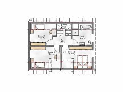 Einfamilienhaus Vielseitige 123.1 - ekodom Hausbau Grundriss DG
