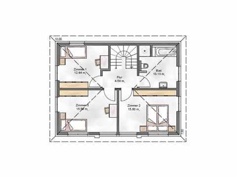 Stadtvilla Noble W 123 - ekodom Hausbau Grundriss OG