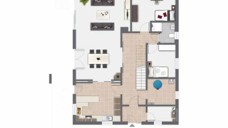 Grundriss des Einfamilienhaus Waldsee mit abtrennbarer Wohnküche