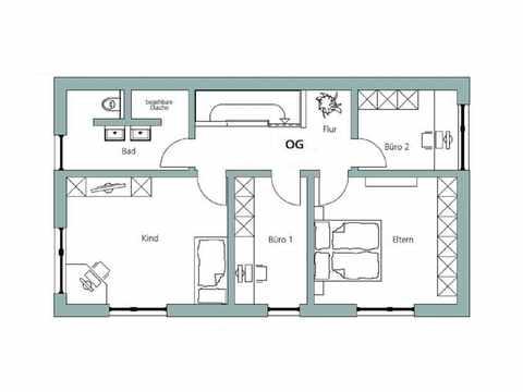 Kubus Haus Unikat 091 - TALBAU-Haus Grundriss OG