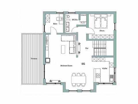 Einfamilienhaus Unikat 122 - TALBAU-Haus Grundriss EG