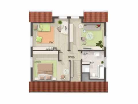 Einfamilienhaus Flair 113 - HausBau Hauke Tießen Grundriss OG