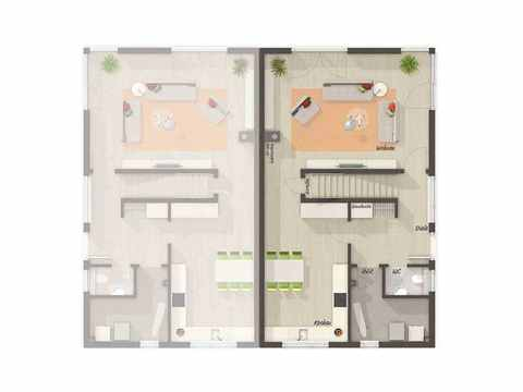 Doppelhaus Aura 136 - Langer Massivbau Grundriss EG