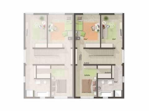 Doppelhaus Aura 136 - Langer Massivbau Grundriss OG