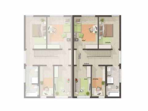 Doppelhaus Aura 136 - Langer Massivbau Grundriss OG (Zusätzliches Zimmer)