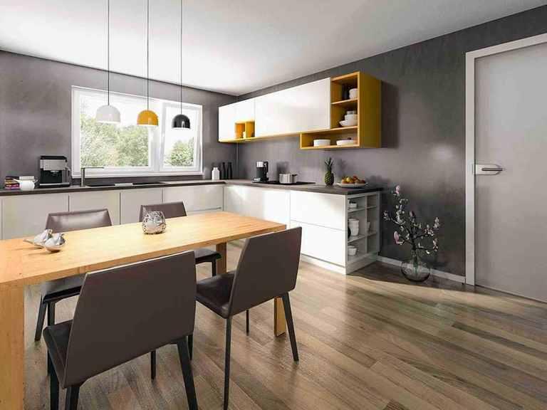 Doppelhaus Aura 136 - Langer Massivbau Essbereich und offene Küche