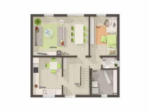 Flair 113 - Langer Massivbau Grundriss EG (Fünf Zimmer)