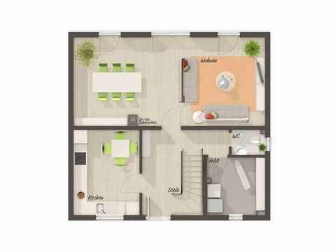 Flair 113 - Langer Massivbau Grundriss EG (Vier Zimmer)