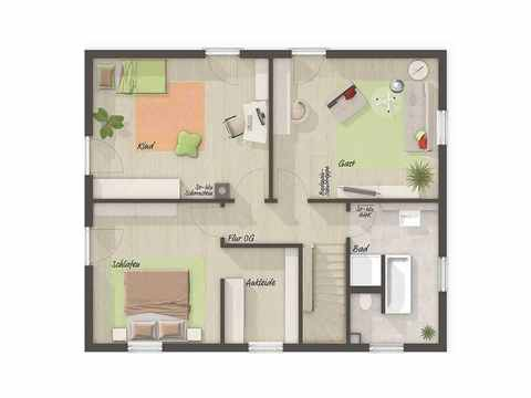 Stadthaus Flair 152 - Langer Massivbau Grundriss OG