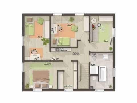 Stadthaus Flair 152 - Langer Massivbau Grundriss OG (Sechs Zimmer)