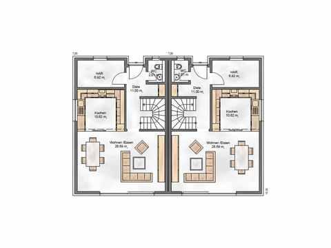 Zweifamilienhaus Funktionale 176 - ekodom Hausbau Grundriss EG