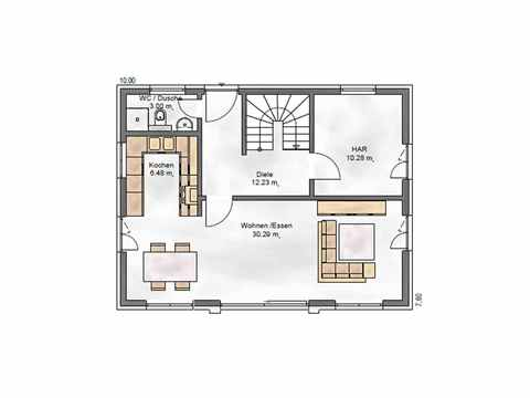 Stadtvilla Noble F 123 - ekodom Hausbau Grundriss EG