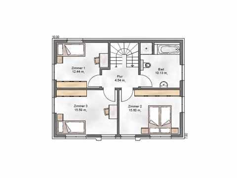 Stadtvilla Noble F 123 - ekodom Hausbau Grundriss OG