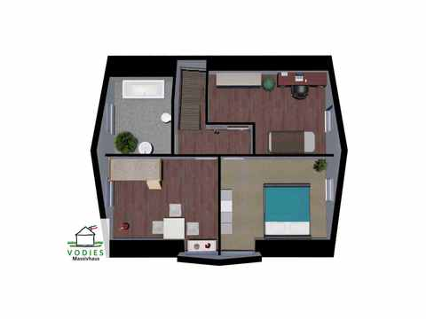 Einfamilienhaus mit 125m² und Trapezgaube - VODIES Massivhaus Grundriss DG