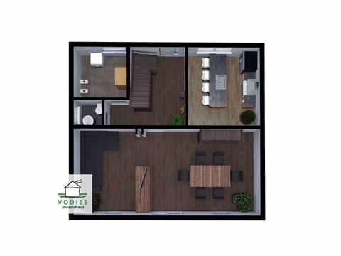 Einfamilienhaus mit 125m² und Trapezgaube - VODIES Massivhaus Grundriss EG