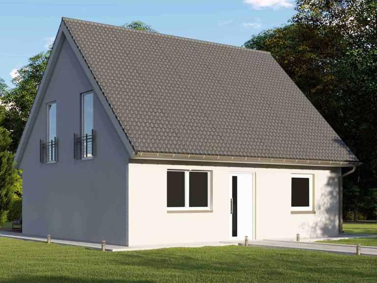 Einfamilienhaus mit 125m² und Trapezgaube - VODIES Massivhaus Gartenansicht