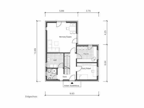 Bauhaus B-132 - NURDA-Hausbau Grundriss EG