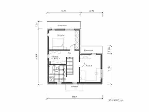 Bauhaus B-132 - NURDA-Hausbau Grundriss OG