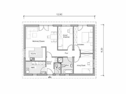 Bungalow BU-100 - NURDA-Hausbau Grundriss EG
