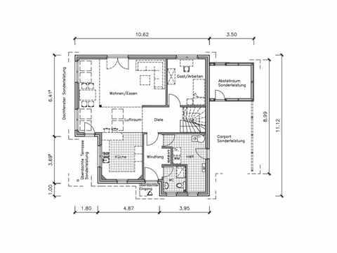 Studiohaus S2002-154 Empore - NURDA-Hausbau Grundriss EG