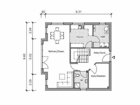 Friesenhaus FS-148 - NURDA-Hausbau Grundriss EG