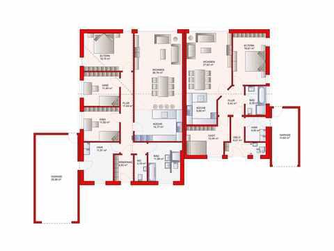 Bungalow mit Einliegerwohnung - MaRa Massivhaus Grundriss EG