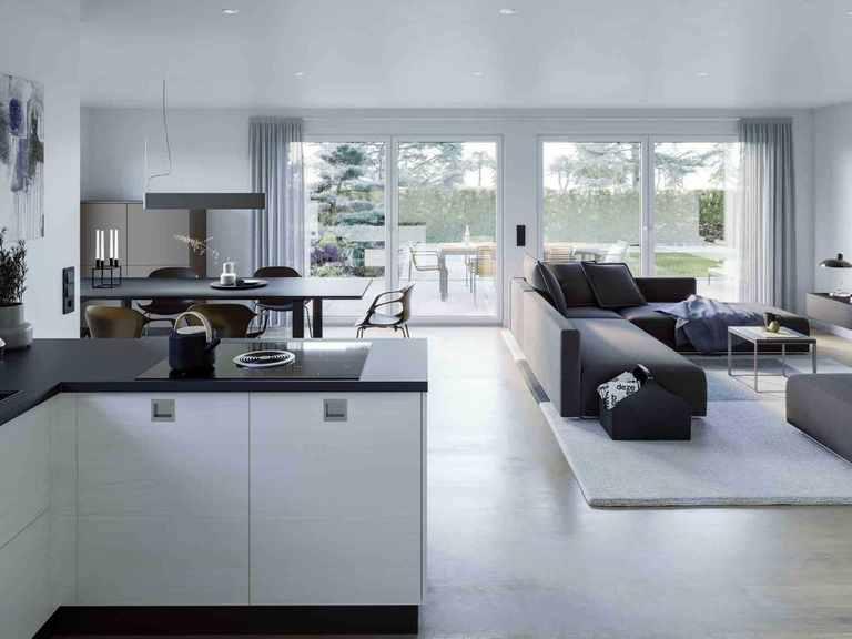 Bungalow AMBIENCE 77 V2 - Bien-Zenker Offene Küche mit Wohn- und Essbereich