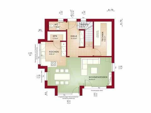 Einfamilienhaus EVOLUTION 124 V9 - Bien-Zenker Grundriss EG