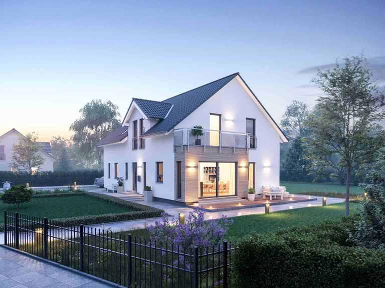Einfamilienhaus LifeStyle 20.01 S Gartenansicht bei Nacht