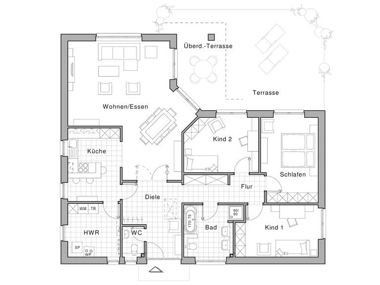 Bungalow Edition 500 B Grunriss von Viebrockhaus