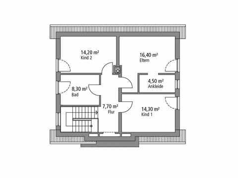 Einfamilienhaus 124 - Ytong Bausatzhaus Grundriss OG