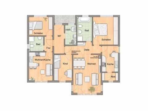 Bungalow 128 Grundriss mit Einliegerwohnung